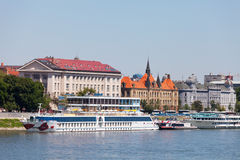 Pier for the tourist and walking ships. Bratislava Stock Image