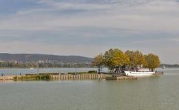 Pier for touristic ships on lake Balaton, Keszthely, Hungary. Royalty Free Stock Photos