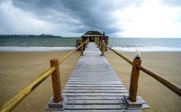 Pier towards Maputo bay. From Catembe Stock Photos