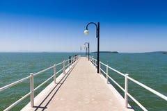 Pier on Trasimeno Lake, Italy Stock Photo