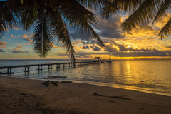 Pier on a tropical island, holiday landscape Royalty Free Stock Photos
