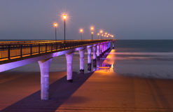 Pier at twilight. New Brighton, Christchurch, New Zealand Royalty Free Stock Photo