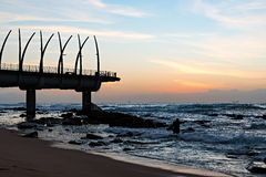 Pier in Umhlanga Rocks at Sunrise Stock Photo
