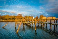 Pier und Übereinstimmung zeigen Leuchtturm in Havre de Grace, Maryland Lizenzfreie Stockbilder