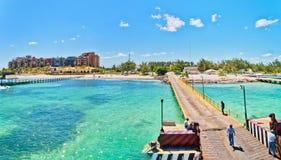 Pier und Küstenlinie Punta Sam in Cancun, Mexiko Lizenzfreie Stockfotografie