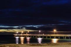 Pier- und Nachtlichter Stockbild