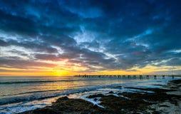 Pier und Sonnenuntergang Lizenzfreie Stockbilder