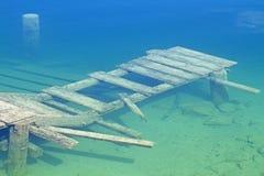 Pier under water Stock Photo