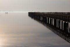 Pier, Vögel und Fischer Stockfotografie