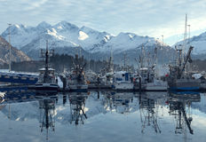 The pier in Valdez town Alaska. Alaska is the one of the of the most beautiful places in the world Royalty Free Stock Images