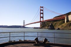 Pier View. The Golden Gate Bridge seen from a fishing pier Stock Images