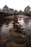 Pier View. View of homes from a rock pier in Provincetown, MA Stock Image