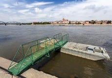 Pier on the Vistula river bank in Torun, Poland. Stock Images