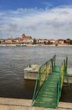 Pier on the Vistula river bank in Torun, Poland. Stock Photos