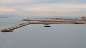 Pier and water area of seaport. Valencia, Spain. 21-11-2016 stock footage