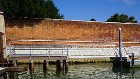 Pier and water for boat transportation Stock Images