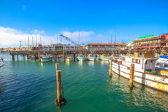 Pier 39 waterfront. San Francisco, California, United States - August 14, 2016: boats docked at Pier 39, Fisherman`s Wharf district. San Francisco travel stock photos