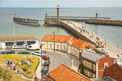 Pier at Whitby. Pier and harbour entrance at Whitby in East Yorkshire Royalty Free Stock Photos