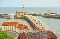 Pier at Whitby. Pier and harbour entrance at Whitby in East Yorkshire Royalty Free Stock Photo