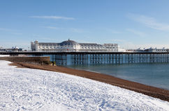Pier winter snow brighton Royalty Free Stock Images