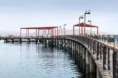 Pier with wooden decking Stock Photos