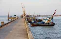 Fishing boat at pier, Thailand Stock Images