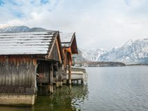 Pier of wooden planks in the hallstatt austria europe travel.  Royalty Free Stock Photos