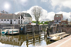 Pier and yacht in Gorinchem. Stock Photos