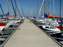 pier in a yachting club Stock Photography