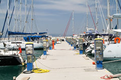 Pier for yachts with electrical and water Royalty Free Stock Photography