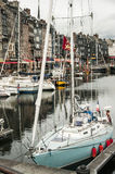 Pier with yachts in the French city. Of Honfleur Royalty Free Stock Photo