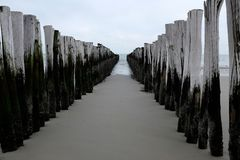 Pier in Zeeland, Holland Royalty-vrije Stock Afbeeldingen