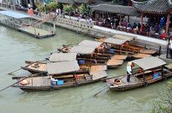 Pier in Zhujiajiao. Zhujiajiao, An ancient town Shanghai,Many cruise ships waiting for tourists Royalty Free Stock Images