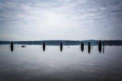 Pieranhäufungen im Potomac, in Alexandria, Virginia lizenzfreies stockfoto