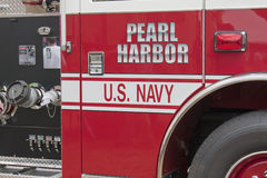 Pierce Fire Truck marked US Navy Pearl Harbor Up Close Stock Photography