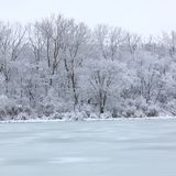 Pierce Lake Rock Cut State Park. Fresh snowfall over a lake in northern Illinois on a cold winter day Royalty Free Stock Photo