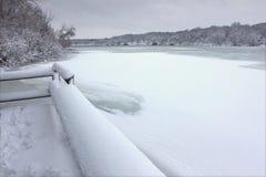 Pierce Lake Snowfall - Illinois Stock Photography