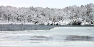 Pierce Lake Snowfall - Illinois. Snowfall at Rock Cut State park in northern Illinois Royalty Free Stock Image