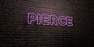 PIERCE -Realistic Neon Sign on Brick Wall background - 3D rendered royalty free stock image Stock Images