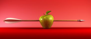 Pierced apple Royalty Free Stock Image