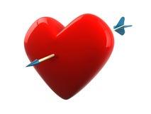 Pierced heart. Heart pierced by a cupid arrow (3d render Royalty Free Stock Photography
