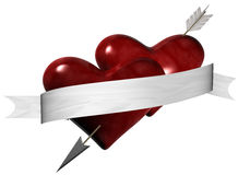 Pierced Hearts. Arrow through two hearts with banner vector illustration