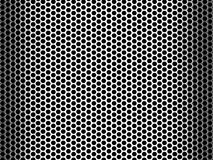 Pierced Metal Grid Background. Abstract background of a shiny stainless steel metallic grid with repetitive rows of punched circular holes Stock Image