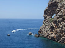 Pierced rock at Sa Foradada, Majorca Stock Photos