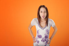 Pierced Tongue Girl Royalty Free Stock Images