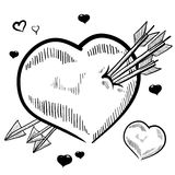 Pierced Valentine's heart sketch Royalty Free Stock Image