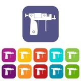 Piercing gun icons set flat Royalty Free Stock Image