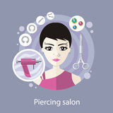 Piercing Salon Flat Style Design Stock Photography