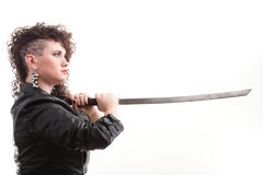 Piercing woman curly girl and sword Royalty Free Stock Images