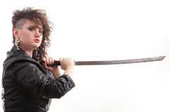 Piercing woman curly girl and sword Stock Photography